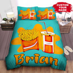Personalized French Fries Package & Drink Illustration Bed Sheet Spread Comforter Duvet Cover Bedding Sets