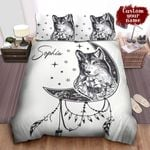 Personalized Native American Wolf & The Moon Sketch Art Drawing Bed Sheets Spread Comforter Duvet Cover Bedding Sets