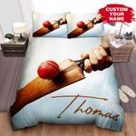 Personalized Cricket Bat Hitting Red Leather Cricket Ball Photograph Bed Sheets Spread Comforter Duvet Cover Bedding Sets