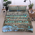 Family Dad To Daughter Smile More And Worry Less Cotton Bed Sheets Spread Comforter Duvet Cover Bedding Sets