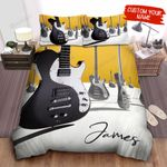 Personalized Musical Instruments Black & White Electric Guitars Illustration Bed Sheets Spread Comforter Duvet Cover Bedding Sets