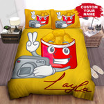 Personalized Cartoon Illustration Of Chicken Nuggets Package With A Camera Bed Sheet Spread Comforter Duvet Cover Bedding Sets