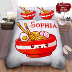 Personalized Bowl Of Ramen With Cute Face Illustration Bed Sheet Spread Comforter Duvet Cover Bedding Sets
