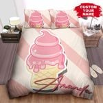Personalized Pink Ice Cream Sticker Bed Sheets Spread Comforter Duvet Cover Bedding Sets