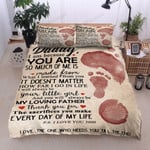 Personalized Footprint To My Daddy I Love You 3000 From Daughter Cotton Bed Sheets Spread Comforter Duvet Cover Bedding Sets