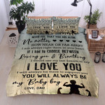 Personalized Family To My Son From Dad I Always Support You Cotton Bed Sheets Spread Comforter Duvet Cover Bedding Sets