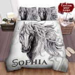 Personalized Horse In Pencil Drawing Bed Sheets Spread Comforter Duvet Cover Bedding Sets