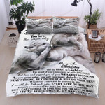 Personalized Wolf Family Dad To Daughter I Will Be Behind You Every Step Cotton Bed Sheets Spread Comforter Duvet Cover Bedding Sets