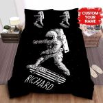 Personalized Astronaut Skateboarding With American Flag Skateboard Bed Sheets Spread Comforter Duvet Cover Bedding Sets