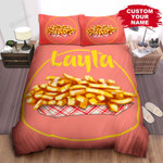 Personalized Delicious French Fries Illustration On Pink Background Bed Sheet Spread Comforter Duvet Cover Bedding Sets