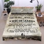 Personalized Family Dad To Son You Will Never Lose Cotton Bed Sheets Spread Comforter Duvet Cover Bedding Sets