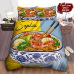 Personalized Bowl Of Ramen In Realistic Digital Art Bed Sheet Spread Comforter Duvet Cover Bedding Sets
