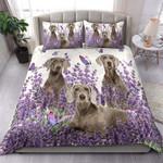 Weimaraner And Lavender Cotton Bed Sheets Spread Comforter Duvet Cover Bedding Sets