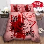 Personalized Red & Monochrome Rose Artwork Bed Sheets Spread Comforter Duvet Cover Bedding Sets