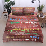 Personalized Family To Daughter From Dad Follow Your Dreams Laugh Love Live Cotton Bed Sheets Spread Comforter Duvet Cover Bedding Sets