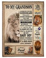 Personalized To My Grandson I Love You To The Moon And Back From Grandpa Fleece Blanket Great Customized Gifts for Family Birthday Christmas Thanksgiving Anniversary