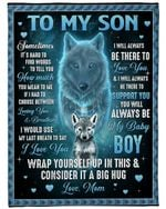 Personalized To My Son From Mom Wolf You Will Always Be My Baby Boy Fleece/Sherpa Blanket Great Customized Gifts For Family Birthday Christmas Thanksgiving Anniversary