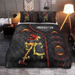 Firefighter Carbon Pattern Quilt Bedding Set