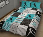 Dirt And Bling Softball Thing Bright Teal Version Quilt Bed Set