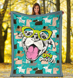 Dog Wearing Glasses Dog Party Premium Sherpa Fleece Blanket Great Customized Blanket Gifts For Birthday Christmas Thanksgiving