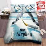 Ice Hockey Close-Up Players Competing Bed Sheets Spread Comforter Duvet Cover Bedding Sets