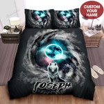 Personalized Wolf Spirit And The Earth Watercolor Artwork Bed Sheets Spread Comforter Duvet Cover Bedding Sets