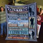 Personalized To Dad To Day Is A Good Day From Son Wooden Plank Silhouette Of Father And Son Fleece Blanket Great Customized Blanket Gifts For Birthday Christmas Thanksgiving