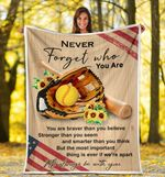 Never Forget Who You're Sunflower Softball American Flag Sherpa Fleece Blanket  Great Customized Blanket Gifts For Birthday Christmas Thanksgiving