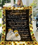 Personalized Sloth To My Daughter-In-Law Fleece Sherpa Blanket Great Customized Blanket Gift For Birthday Christmas Thanksgiving Anniversary