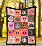 Pig Set Of Funny Pig Faces Sherpa Fleece Blanket Great Customized Blanket Gifts For Birthday Christmas Thanksgiving