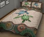 Turtle Couple Mandala Quilt Bed Set