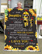 Personalized Sunflower Firefighter You Either Win Or Learn Just Go Forth And Aim For Skies Believe In Yourself As I Believe In You Forever Love You Fleece Blanket Great Customized Blanket Gifts For Birthday Christmas Thanksgiving