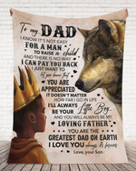 Personalized Custom Name Son To My Dad Wolf I Know It Is Not Easy For A Men To Raise A Child, I Love You Fleece, Sherpa Blanket Great Gifts For Birthday Christmas Thanksgiving Anniversary
