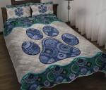 Dog Paw Vintage Mandala Quilt Bed Set