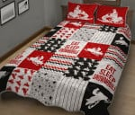 Eat Sleep Snowmobile Red Version Quilt Bed Set