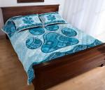 Dog Paw Vintage Mandala Turquoise Quilt Bed Set