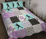 Dirt And Bling Softball Thing Lavender Light Teal Version Quilt Bed Set