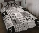 Eat Sleep Volleyball Pattern Gray Quilt Bed Set