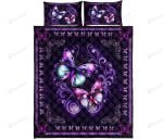 Butterfly Purple Quilt Bed Set