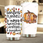 Fall Tumbler Bonfires Flannels S'Mores Sweaters Campfires And Pumpkins Tumbler Gifts For Fall, Autumn Lovers Tumbler 20 Oz Sport Bottle Stainless Steel Vacuum Insulated Tumbler