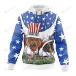 Funny Dog Creative American Flag 3D All Over Print Hoodie, Zip-up Hoodie