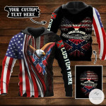 Personalized Eagle American Born With Deep Southern Roots Rebel Flag 3D All Over Print Hoodie, Zip-up Hoodie