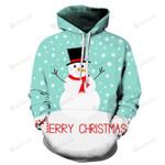 Happy Snowman Christmas 3D All Over Print Hoodie, Zip-up Hoodie