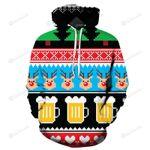 Beer Christmas 3D All Over Print Hoodie, Zip-up Hoodie