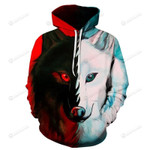 Contrast Red And White Wolf 3D All Over Print Hoodie, Zip-up Hoodie