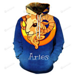 The Blue Aries March 21 To April 3D All Over Print Hoodie, Zip-up Hoodie