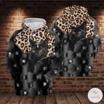 Black Cat Leopard Skin 3D All Over Print Hoodie, Zip-up Hoodie