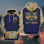 Raccoon Live Fast Eat Trash 3D All Over Print Hoodie, Zip-up Hoodie