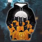 Halloween Pumpkin Black Cat 3D All Over Print Hoodie, Zip-up Hoodie