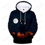 Black Cat Moon Night 3D All Over Print Hoodie, Zip-up Hoodie